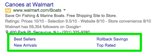 adwords sitelink example